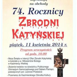 Obchody 74 Rocznicy Zbrodni Katyńskiej