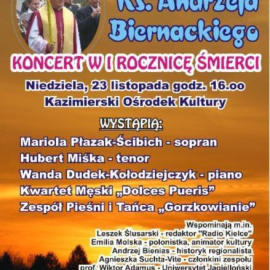 Koncert w I rocznicę śmierci ks. Andrzeja Biernackiego